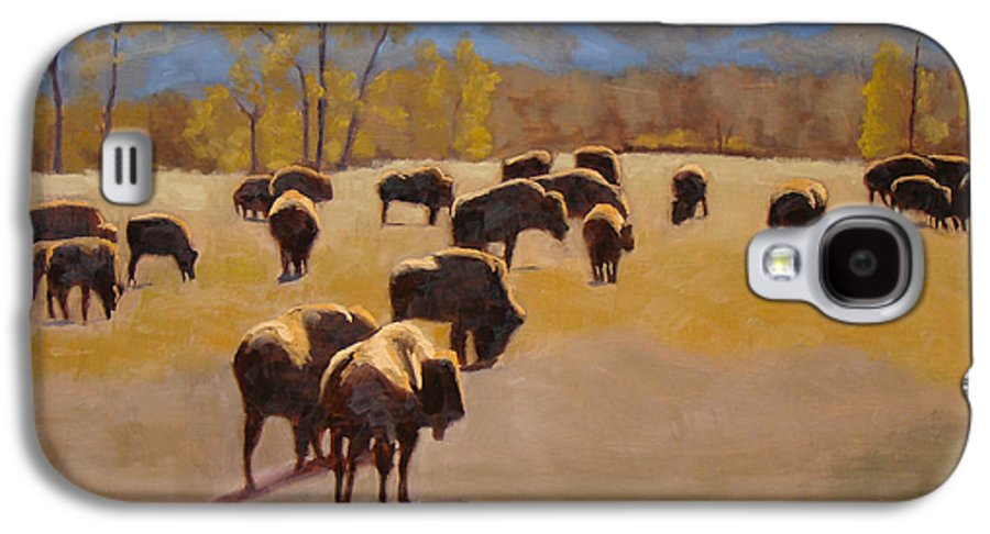 Buffalo Galaxy S4 Case featuring the painting Where The Buffalo Roam by Tate Hamilton