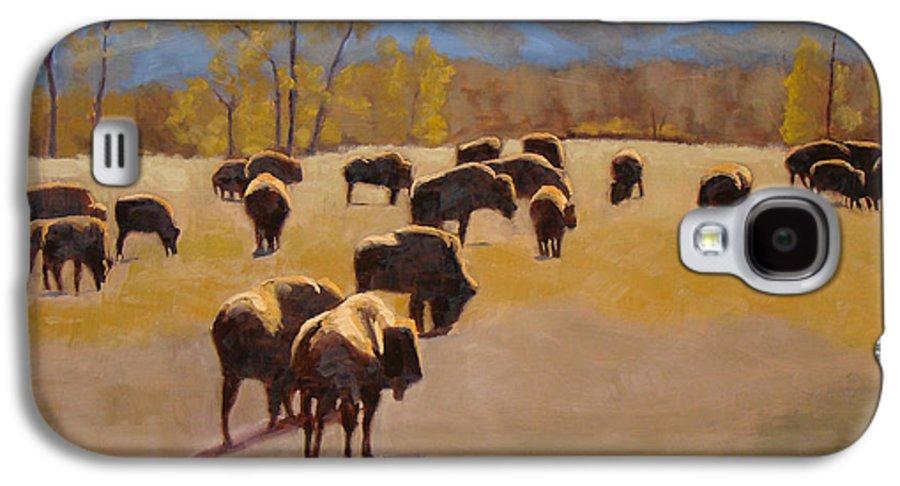 Buffalo Galaxy S4 Case featuring the painting Where The Buffalo Roam by Tate Hamilton