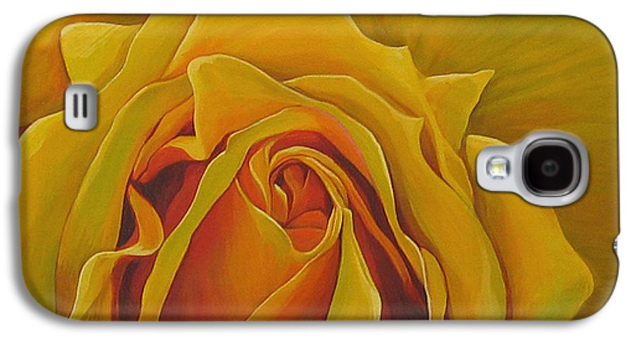 Yellow Rose Galaxy S4 Case featuring the painting Where The Rose Is Sown by Hunter Jay