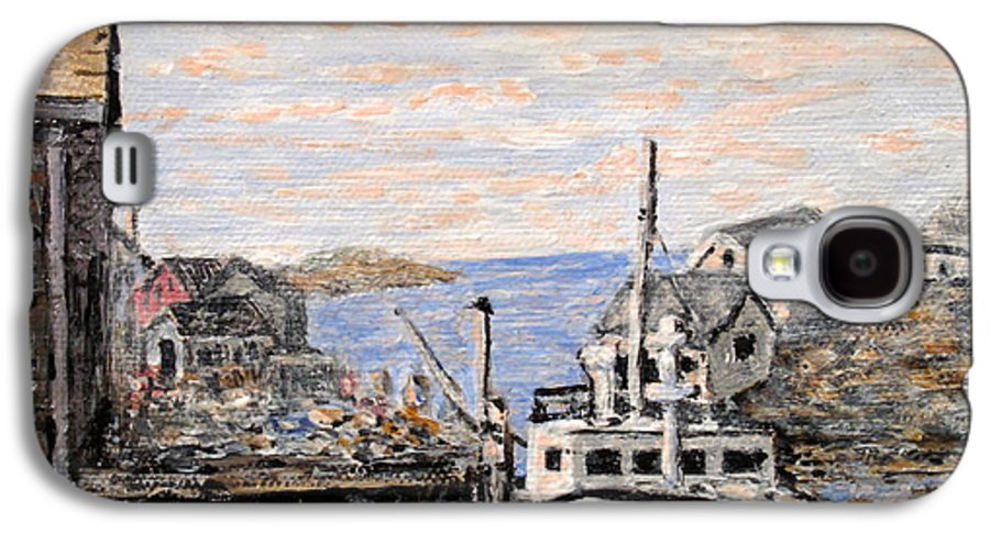 White Galaxy S4 Case featuring the painting White Boat In Peggys Cove Nova Scotia by Ian MacDonald