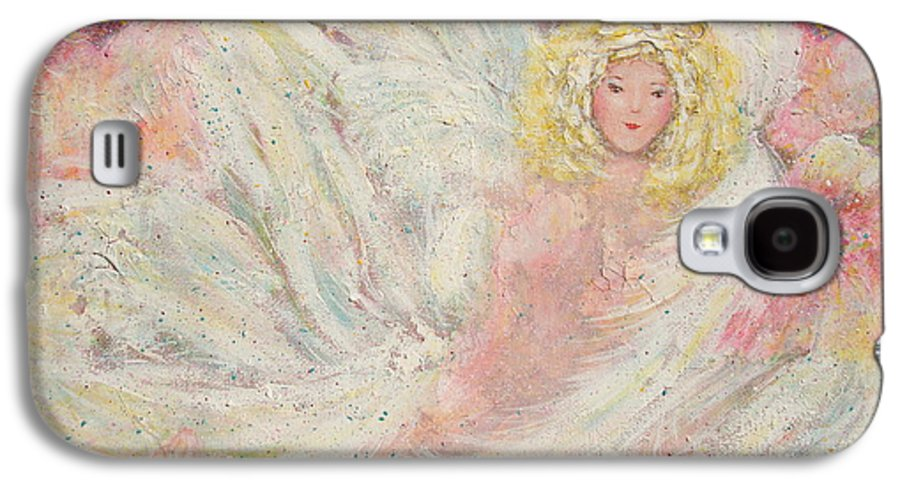 Angel Galaxy S4 Case featuring the painting White Feathers Secret Garden Angel 4 by Natalie Holland