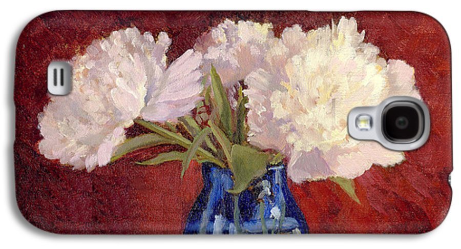 Peonies Galaxy S4 Case featuring the painting White Peonies by Keith Burgess