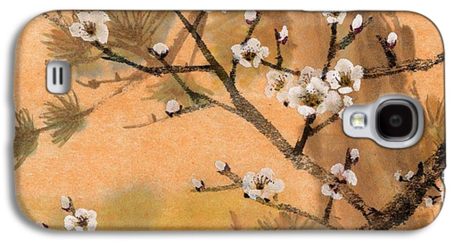 White Plum Blossoms Galaxy S4 Case featuring the painting White Plum Blossoms With Pine Tree by Eileen Fong