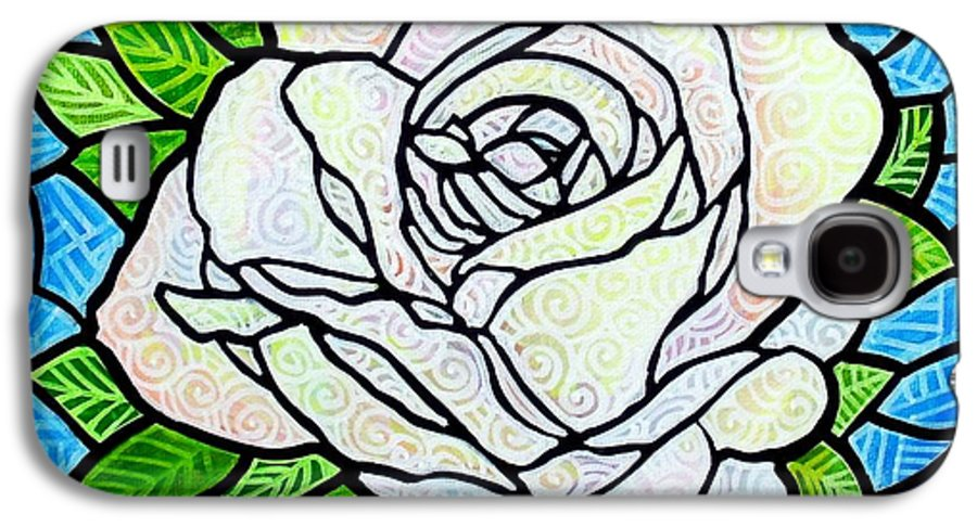 White Galaxy S4 Case featuring the painting White Rose by Jim Harris