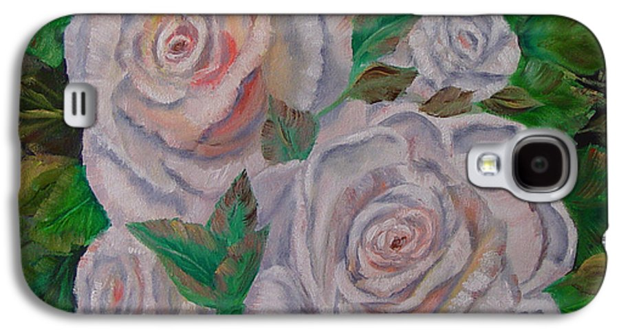 Roses Galaxy S4 Case featuring the painting White Roses by Quwatha Valentine