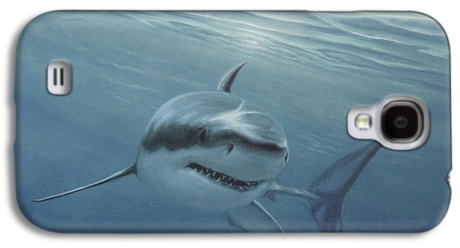 Shark Galaxy S4 Case featuring the painting White Shark by Angel Ortiz