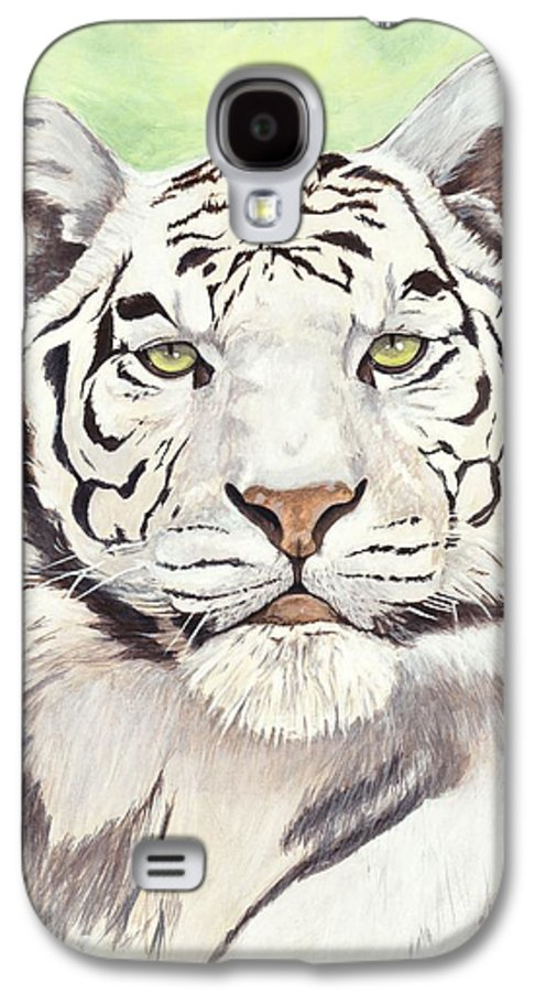 Tiger Galaxy S4 Case featuring the painting White Silence by Shawn Stallings