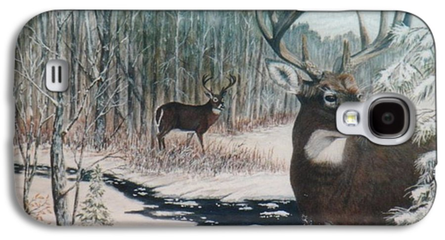 Deer; Snow; Creek Galaxy S4 Case featuring the painting Whitetail Deer by Ben Kiger