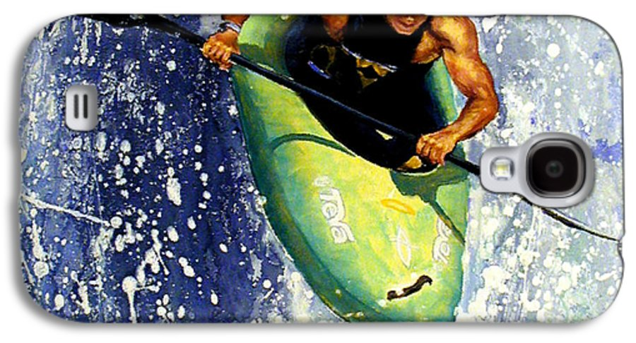 Kayaker Galaxy S4 Case featuring the painting Whitewater Kayaker by Lynee Sapere