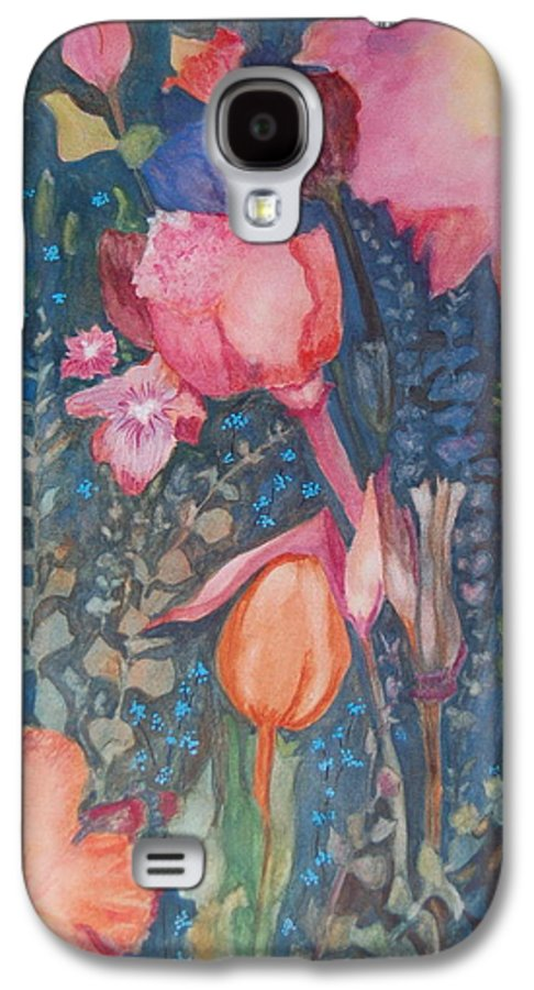 Flower Abstract Galaxy S4 Case featuring the painting Wild Flowers In The Wind II by Henny Dagenais