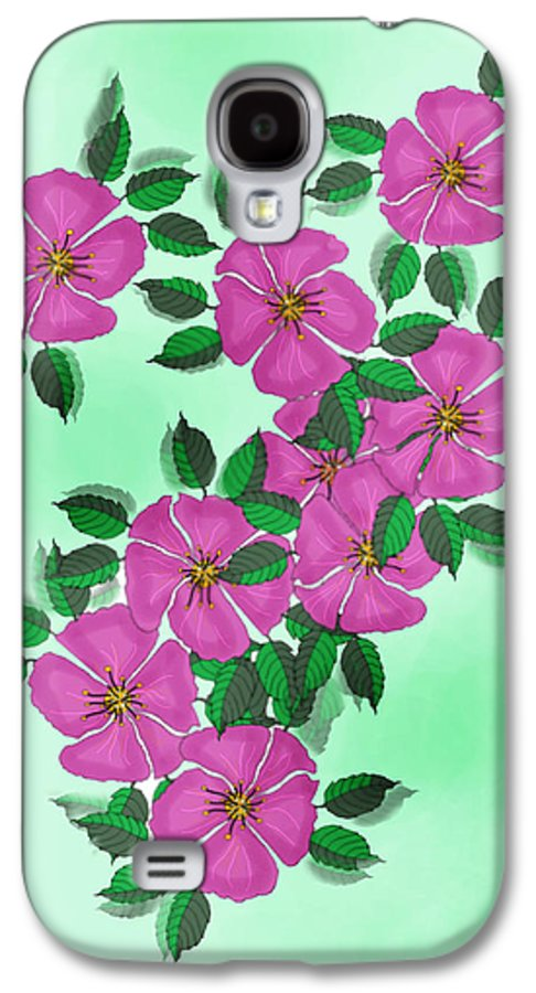 Floral Galaxy S4 Case featuring the painting Wild Roses by Anne Norskog