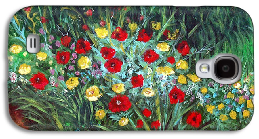 Abstract Galaxy S4 Case featuring the painting Wildflower Garden 1 by Nancy Mueller