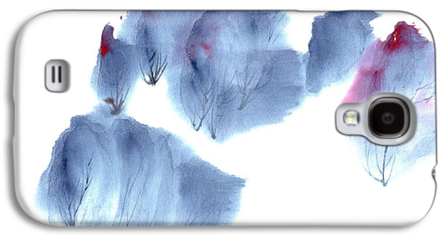 Waving Trees In A Forest On A Windy Day. This Is A Contemporary Chinese Ink And Color On Rice Paper Painting With Simple Zen Style Brush Strokes.  Galaxy S4 Case featuring the painting Windy Forest by Mui-Joo Wee