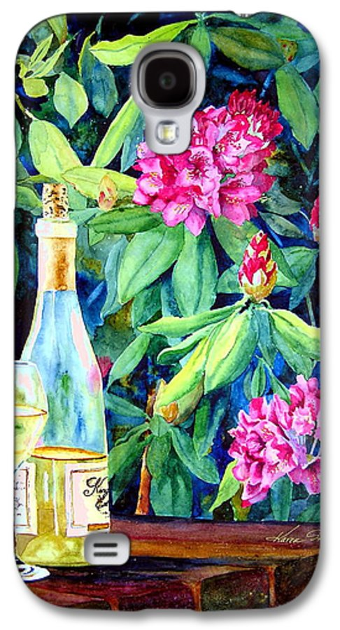 Rhododendron Galaxy S4 Case featuring the painting Wine And Rhodies by Karen Stark