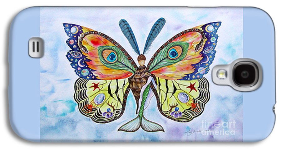Butterfly Galaxy S4 Case featuring the painting Winged Metamorphosis by Lucy Arnold