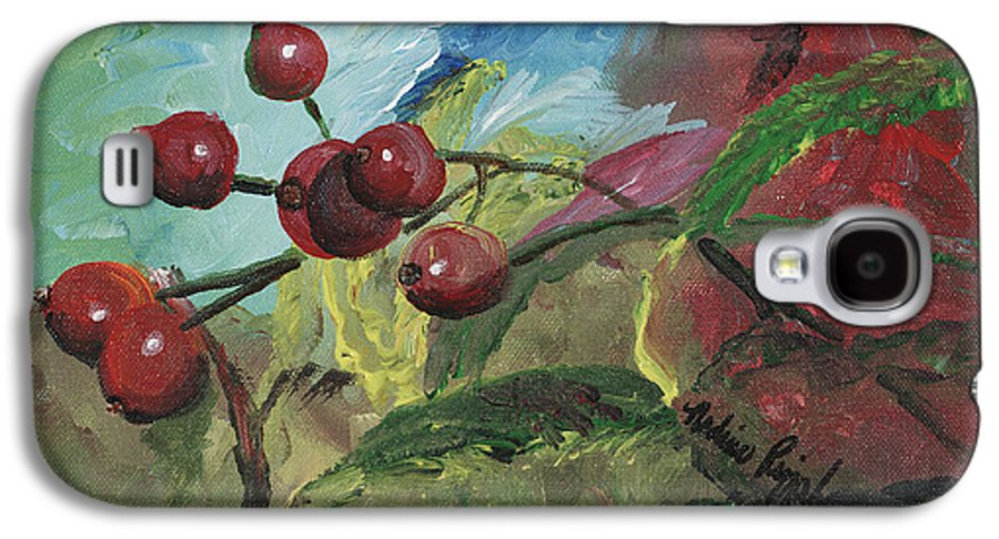 Berries Galaxy S4 Case featuring the painting Winter Berries by Nadine Rippelmeyer