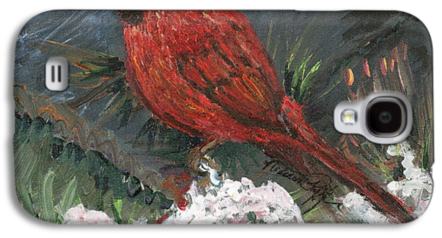 Bird Galaxy S4 Case featuring the painting Winter Cardinal by Nadine Rippelmeyer