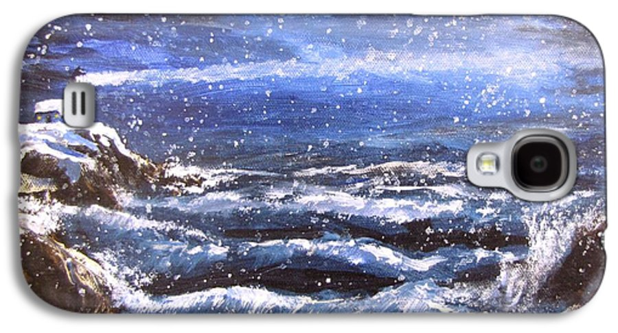 Ocean Galaxy S4 Case featuring the painting Winter Coastal Storm by Jack Skinner