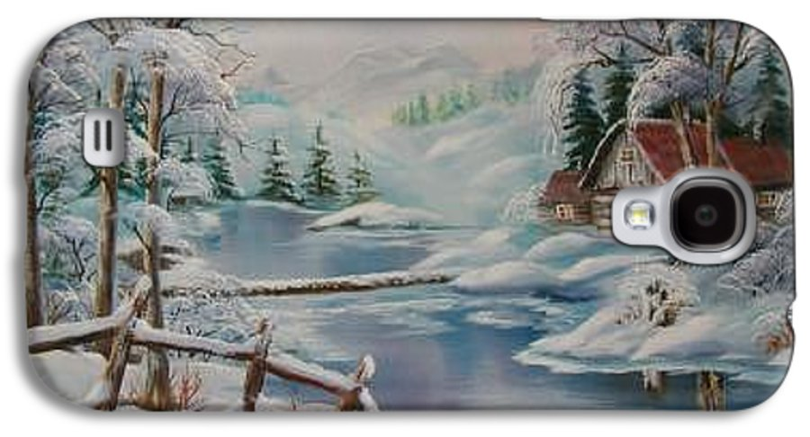 Winter Scapes Galaxy S4 Case featuring the painting Winter In The Valley by Irene Clarke