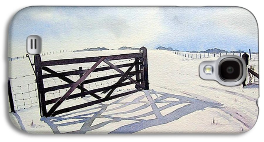 Landscape Galaxy S4 Case featuring the painting Winter Scene With Gate by Paul Dene Marlor