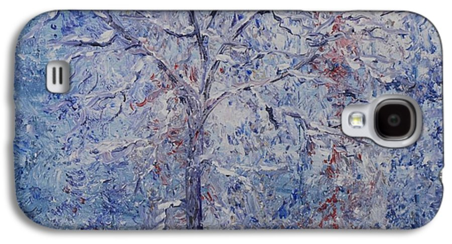 Winter Galaxy S4 Case featuring the painting Winter Trees by Nadine Rippelmeyer