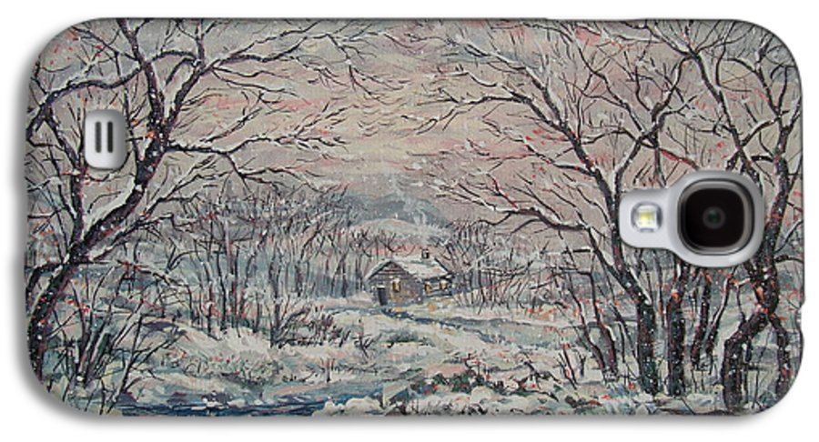 Landscape Galaxy S4 Case featuring the painting Wintery December by Leonard Holland