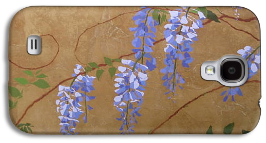 Periwinkle Wisteria Flowers Galaxy S4 Case featuring the painting Wisteria by Leah Tomaino