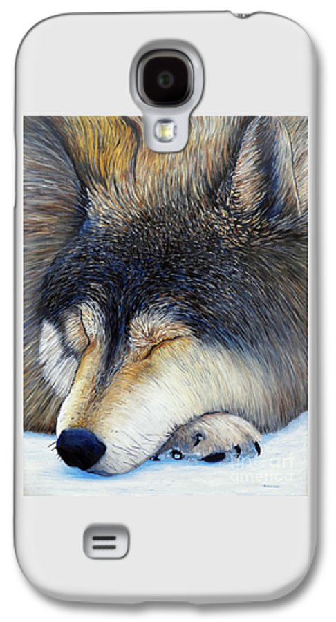 Wolf Galaxy S4 Case featuring the painting Wolf Dreams by Brian Commerford