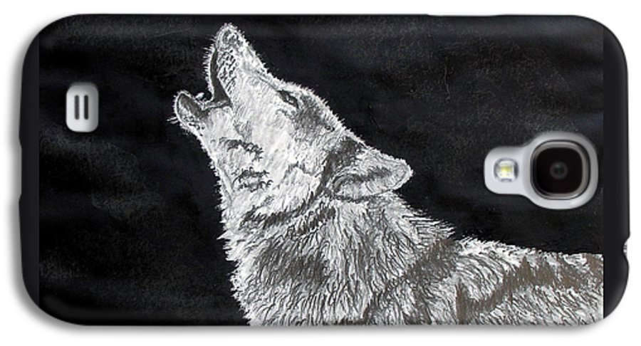 Pencil Galaxy S4 Case featuring the drawing Wolf Howl by Stan Hamilton