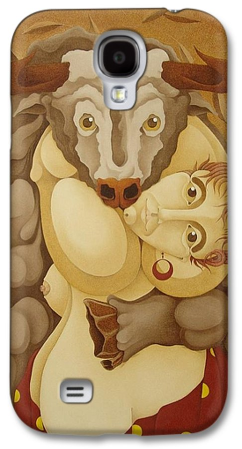 Sacha Galaxy S4 Case featuring the painting Woman Embracing Bull 2005 by S A C H A - Circulism Technique