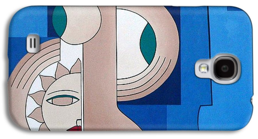 Women Bips Bleu Modern Galaxy S4 Case featuring the painting Women And Questions by Hildegarde Handsaeme