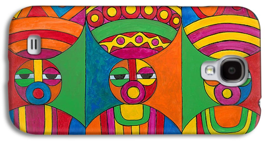 Abstract Galaxy S4 Case featuring the painting Women With Calabashes by Emeka Okoro