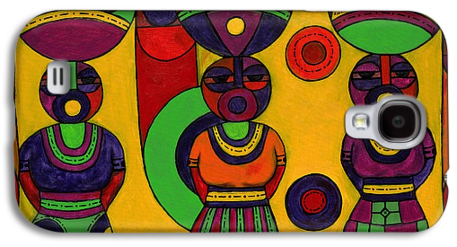Women Galaxy S4 Case featuring the painting Women With Calabashes II by Emeka Okoro