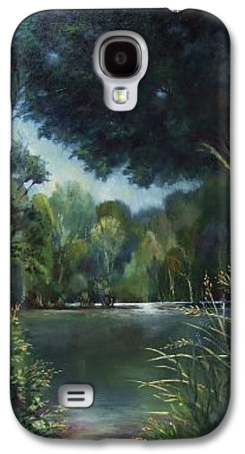 Landscape Woodland Galaxy S4 Case featuring the painting Woodland Pond by Ruth Stromswold