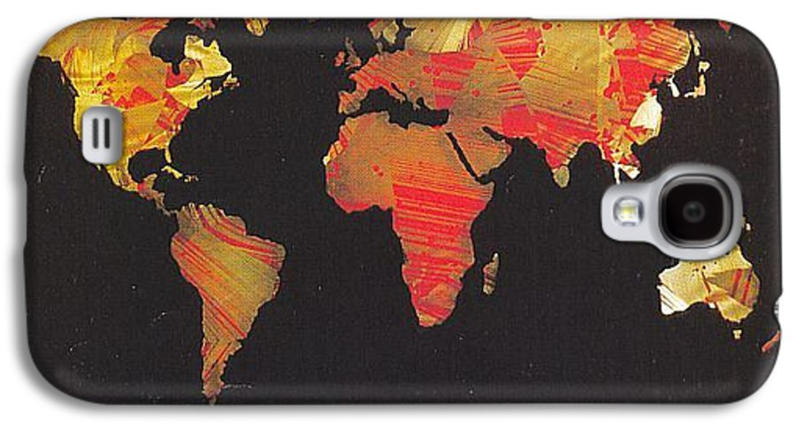 Landscape Galaxy S4 Case featuring the painting World Map by Rick Silas