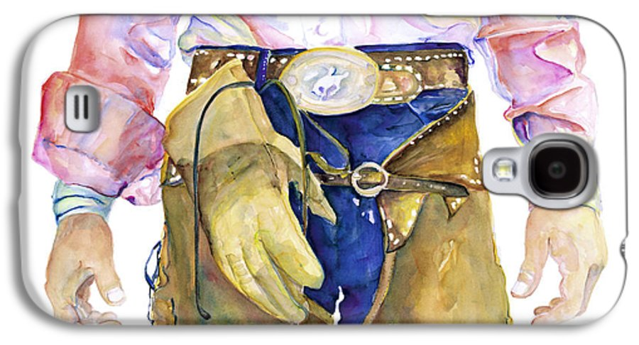 Cowboy Painting Galaxy S4 Case featuring the painting Wrangler by Pat Saunders-White