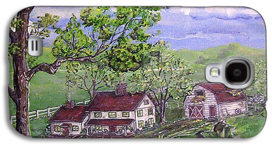 Landscape Galaxy S4 Case featuring the painting Wyoming Homestead by Phyllis Mae Richardson Fisher