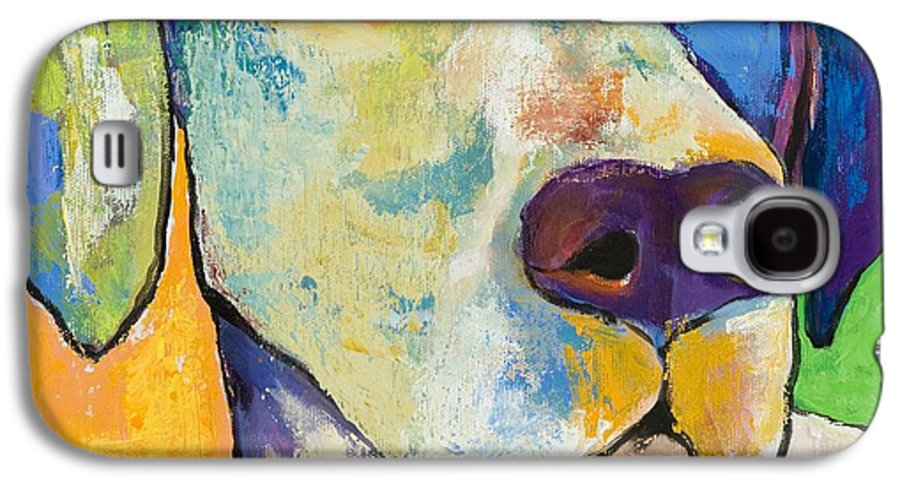 German Shorthair Animalsdog Blue Yellow Acrylic Canvas Galaxy S4 Case featuring the painting Yancy by Pat Saunders-White