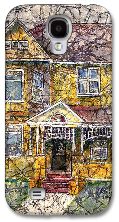 House Galaxy S4 Case featuring the mixed media Yellow Batik House by Arline Wagner