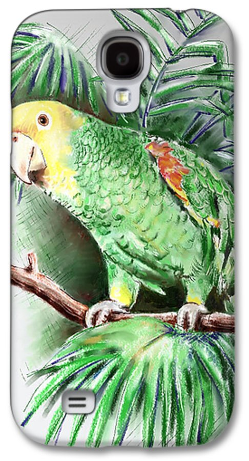 Bird Galaxy S4 Case featuring the digital art Yellow-headed Amazon Parrot by Arline Wagner