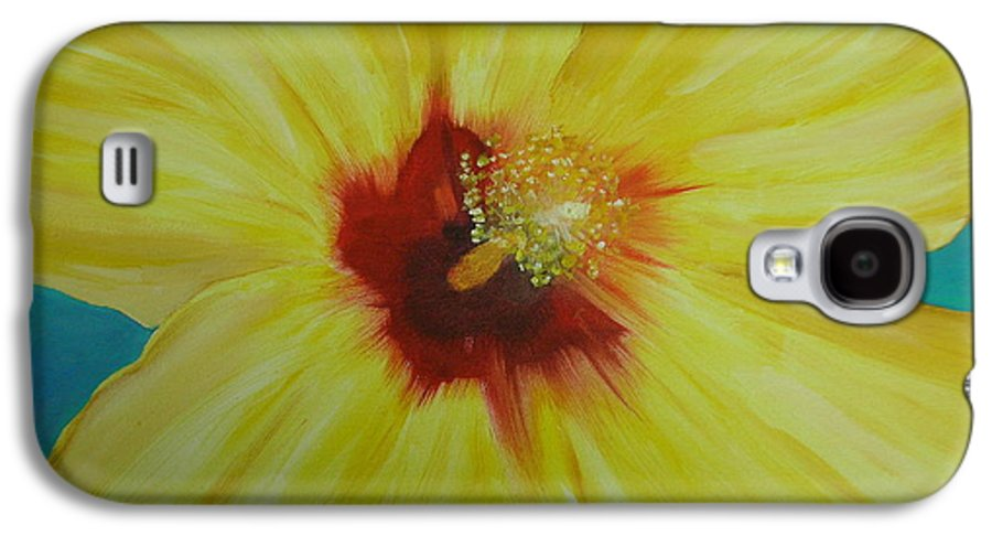 Flower Galaxy S4 Case featuring the print Yellow Hibiscus by Melinda Etzold