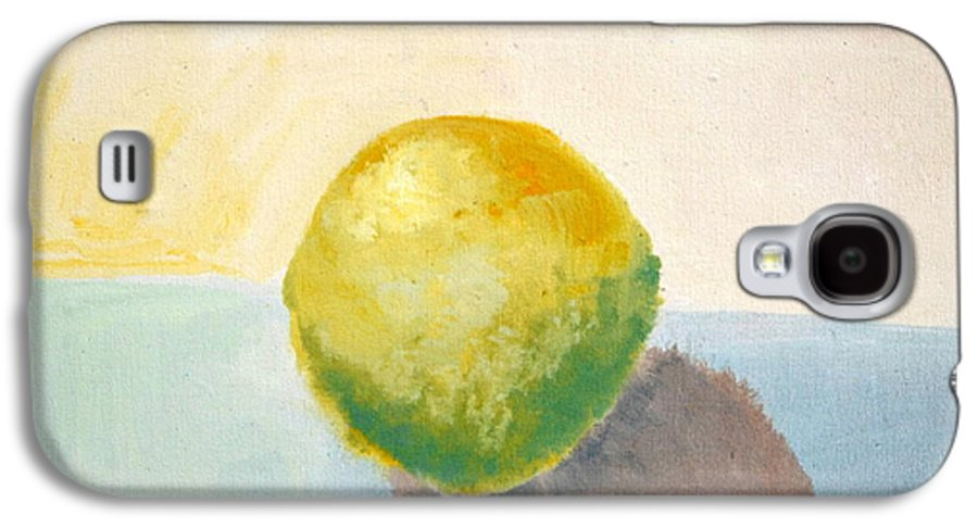 Lemon Galaxy S4 Case featuring the painting Yellow Lemon Still Life by Michelle Calkins