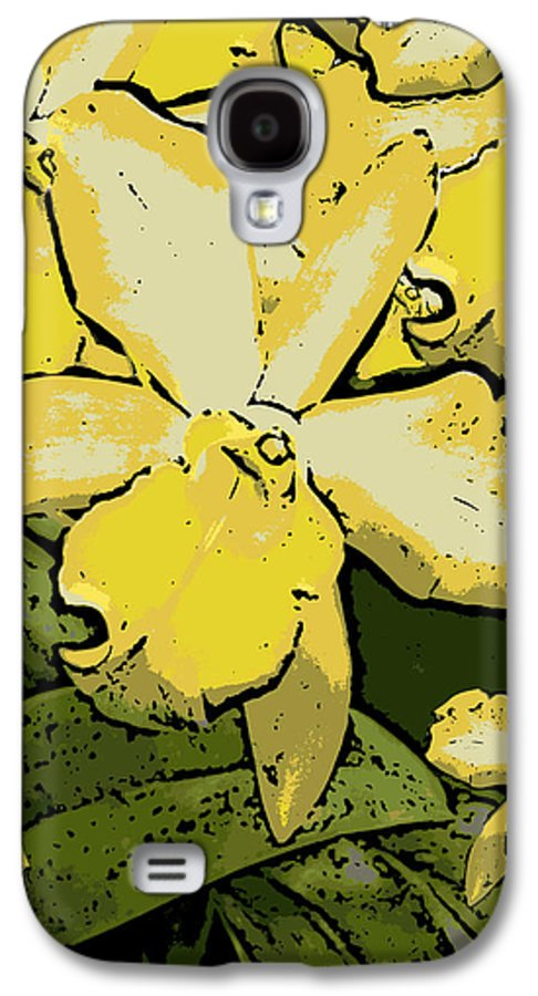 Orchid Galaxy S4 Case featuring the photograph Yellow Orchids Woodcut by Ann Tracy