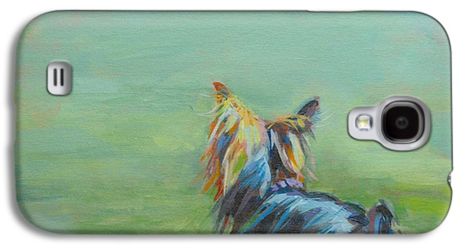 Yorkshire Terrier Galaxy S4 Case featuring the painting Yorkie In The Grass by Kimberly Santini