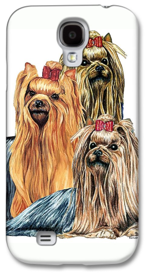 Yorkshire Terrier Galaxy S4 Case featuring the drawing Yorkshire Terriers by Kathleen Sepulveda