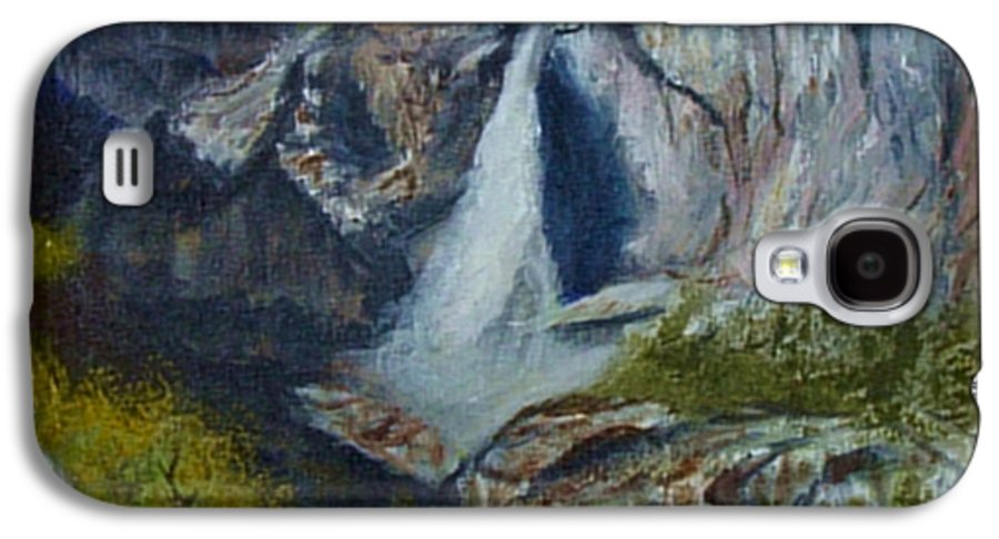 Waterfall Galaxy S4 Case featuring the painting Yosemite Waterfall by Quwatha Valentine
