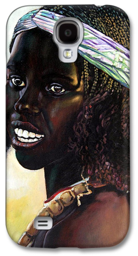 Young Black African Girl Galaxy S4 Case featuring the painting Young Black African Girl by John Lautermilch