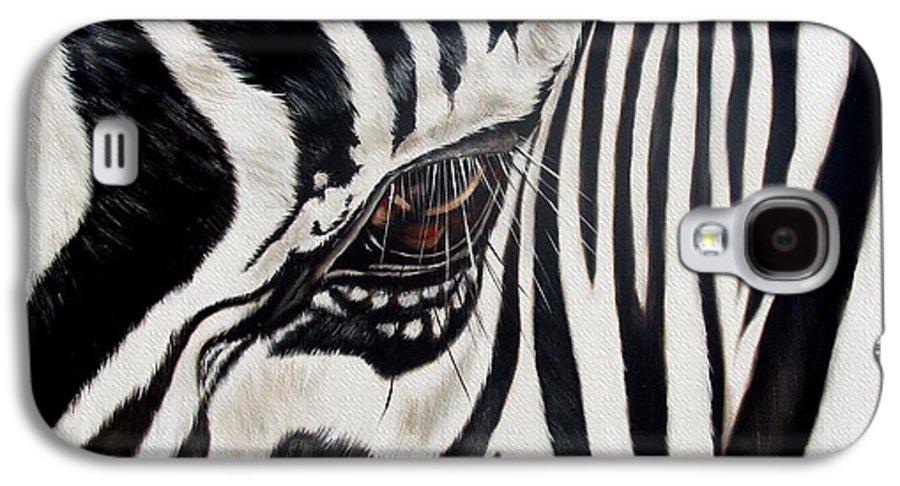 Zebra Galaxy S4 Case featuring the painting Zebra Eye by Ilse Kleyn