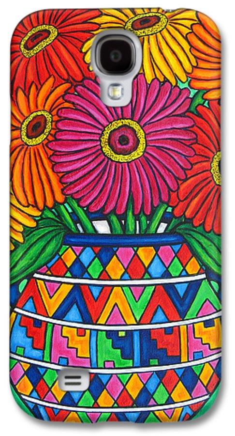 Zinnia Galaxy S4 Case featuring the painting Zinnia Fiesta by Lisa Lorenz