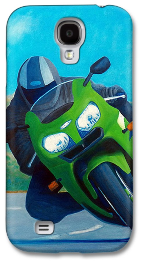 Motorcycle Galaxy S4 Case featuring the painting Zx9 - California Dreaming by Brian Commerford